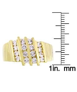 Simon Frank 14k Gold Overlay Men's Layered CZ Ring