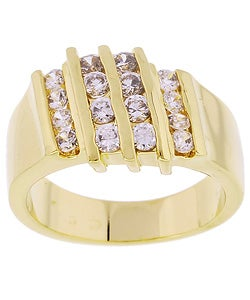 Simon Frank 14k Gold Overlay Men's Layered CZ Ring