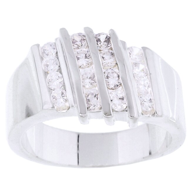 Simon Frank 14k White Gold Overlay Layered CZ Ring