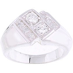 Simon Frank White Gold Overlay Double Dare CZ Ring