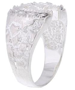 Simon Frank 14k White Gold Overlay Men's Horseshoe CZ Ring