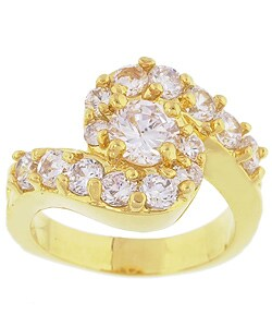 Simon Frank 14k Yellow Gold Overlay Swirl Diamoness Cocktail Ring