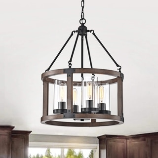 Link to Daniela Pine Wood Drum Cage Glass Pendant with Antique Black Metal Similar Items in Chandeliers