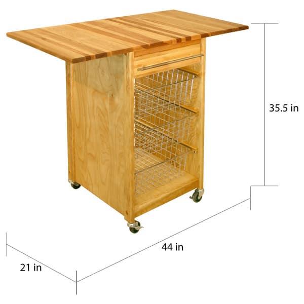 Shop Catskill Craftsmen Drop-Leaf Wooden Basket Cart - Free ...