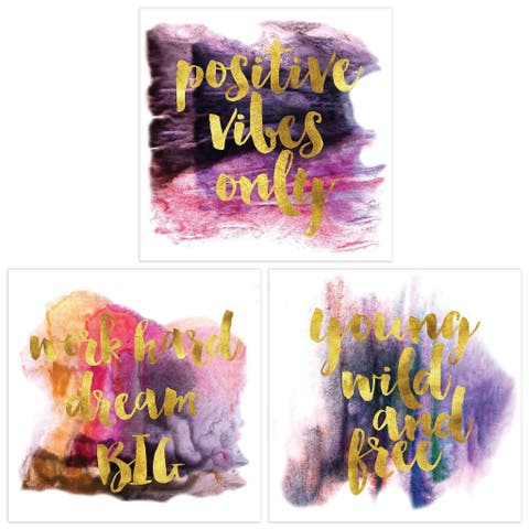 Inspiring Thoughts Series Wall Art Triptych Set on Frameless Free Floating Tempered Glass Panel