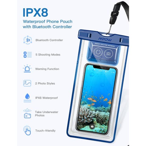 Mpow Waterproof Phone Pouch Phone Case Cover IPX8 Waterproof Case with Bluetooth Controller for iPhone X/8 Galaxy S9