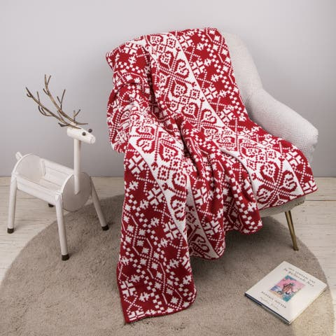 "Glitzhome 60""L*50""W Christmas Knitted Throw Blanket"