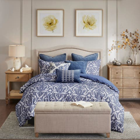 Madison Park Signature Maison Blue Cotton Clip Jacquard Damask Comforter Set