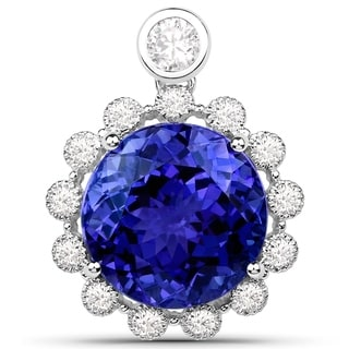 13 59 Carat Genuine Tanzanite And White Diamond 18 Karat White Gold Pendant
