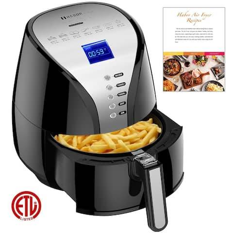 Habor Oil Free Air Fryer 3.6-Liter Capacity Non-stick Basket Large LED Display Rapid Air Circulation Temperature Controller