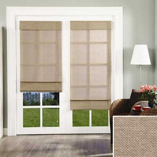 Chicology Standard Cord Lift Roman Shade, Nevada - Natural Woven, Privacy - Nevada Timberwolf - Brown