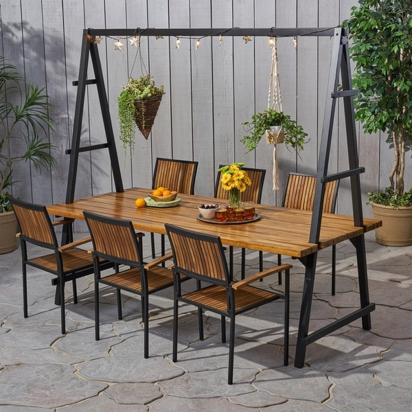 Andrea Outdoor 6 Seater Acacia Wood and Planter Dining Set by Christopher Knight Home