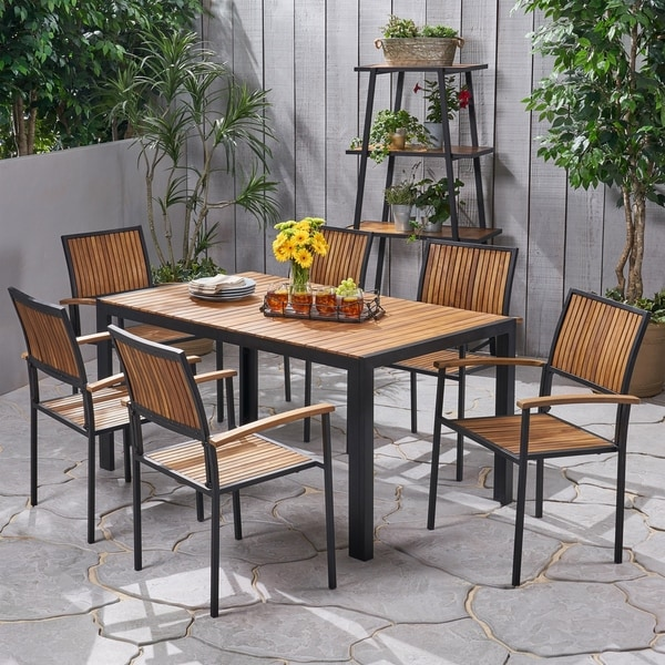 Aristotle Outdoor 6 Seater Acacia Wood Dining Set by Christopher Knight Home