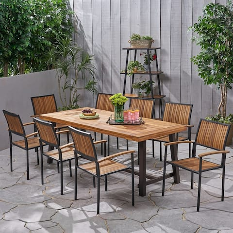 Allison Outdoor 8 Seater Acacia Wood Dining Set by Christopher Knight Home