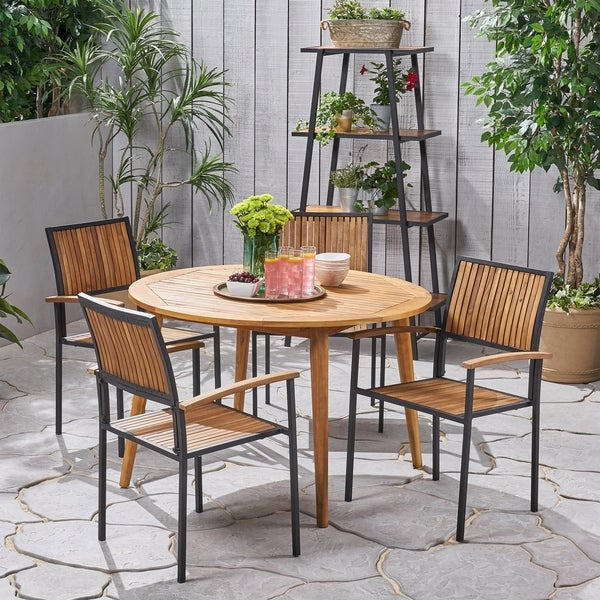 Alhaven Outdoor 4 Seater Acacia Wood Circular Dining Set by Christopher Knight Home