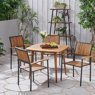 Alpina Outdoor 4 Seater Acacia Wood Square Dining Set by Christopher Knight Home