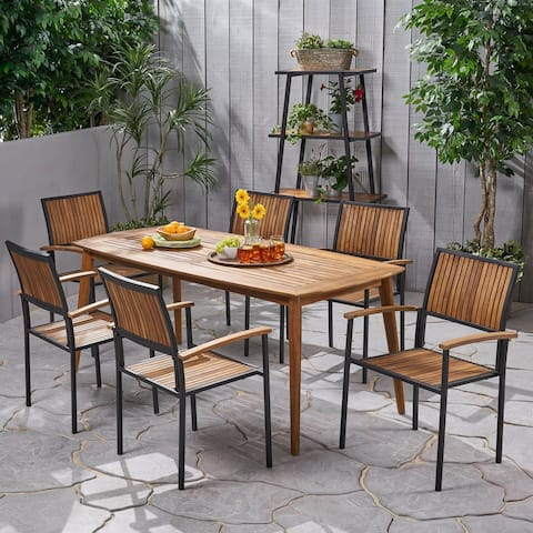 Aster Outdoor 6 Seater Acacia Wood Dining Set by Christopher Knight Home