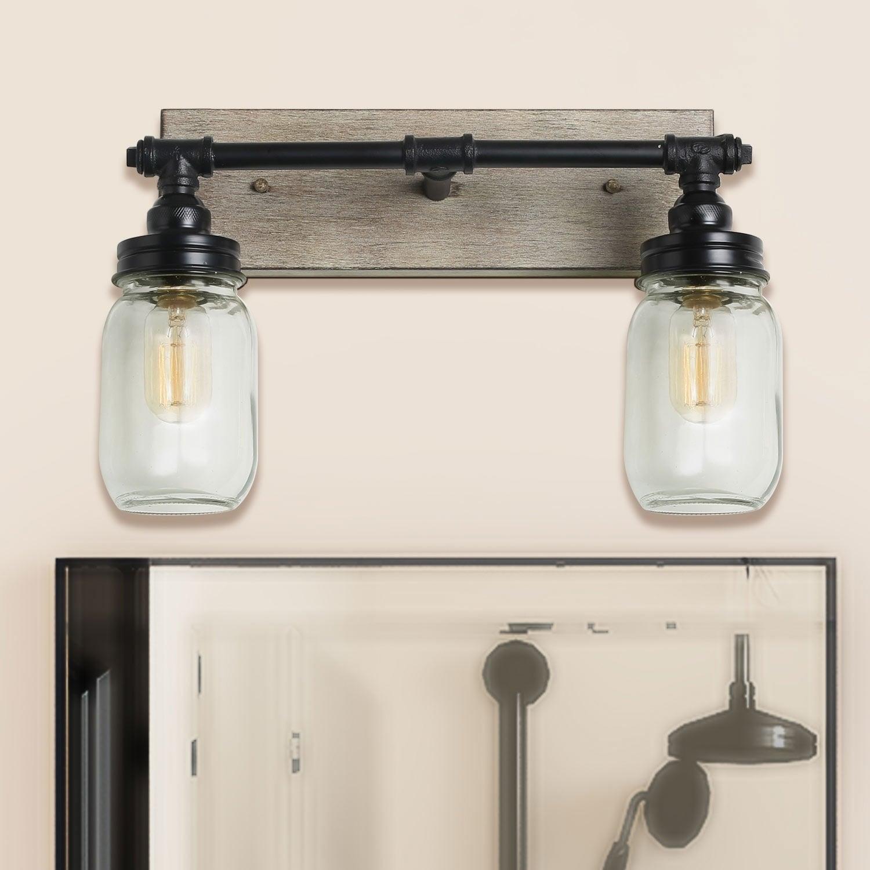 Carbon Loft Vawdrey 2 Light Black Wall Sconces Distressed Faux Wood Bathroom Vanity Lights On Sale Overstock 28873272