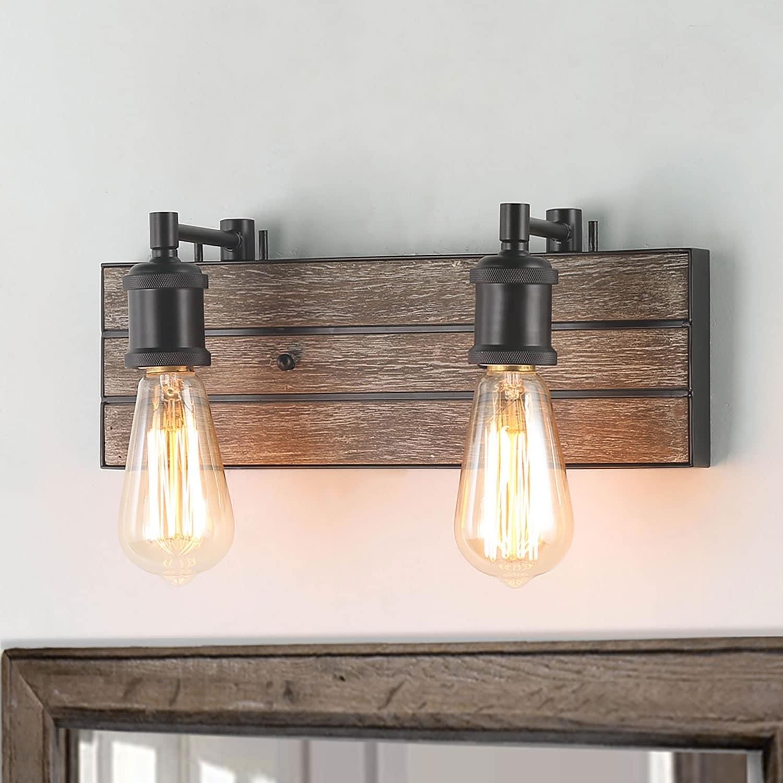 Carbon Loft Astrid 2 Light Wall Lamps Wood Indoor Sconces Vanity Lights