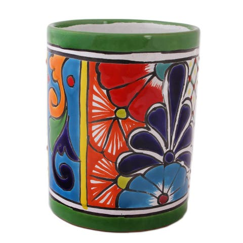 Handmade Colorful Bouquet Ceramic Vase (Mexico)