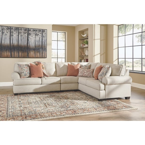 Amici 3-Piece Contemporary Linen Sectional with Pillows
