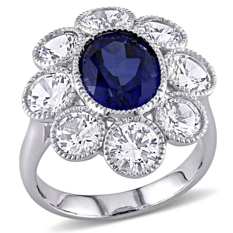Miadora 10k White Gold Created Blue and White Sapphire Flower Cocktail Ring