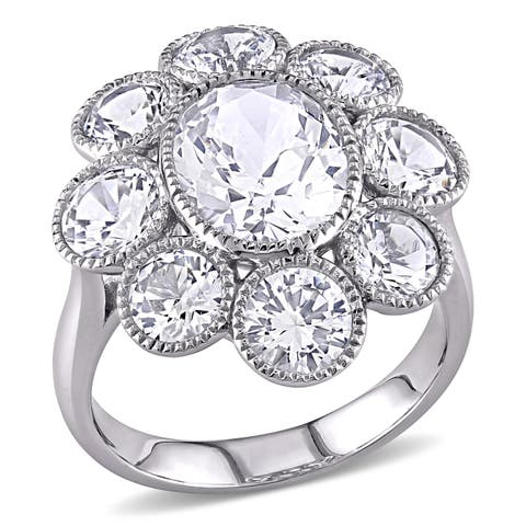 Miadora 10k White Gold Created White Sapphire Flower Cocktail Ring