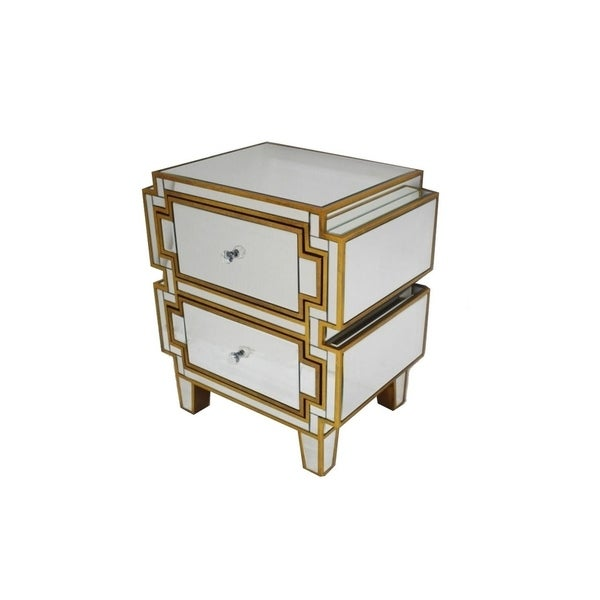 Gold Nightstand with 2 Drawer