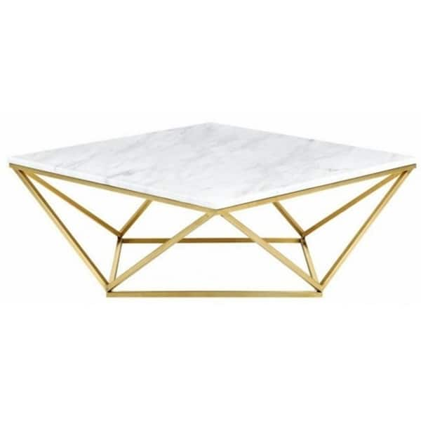 Jasmine Gold Coffee Table With Top Marble