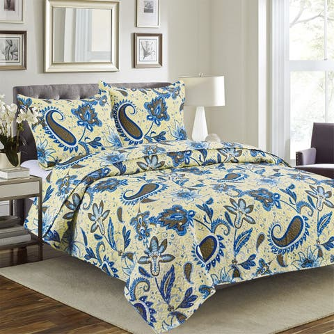 Quilted Bedspread Set 3 Piece - Cynthia By Glory Home Design- Butter Cream & Blue Floral