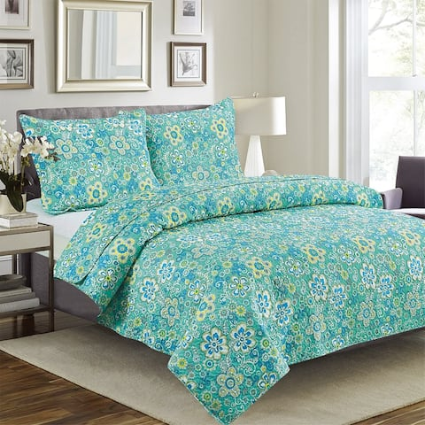 Quilted Bedspread Set 3 Piece - Cynthia By Glory Home Design- Baby Blue Floral Geometric
