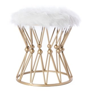 Link to Silver Orchid Buelow Round Gold Metal Accent Vanity Stool Similar Items in Living Room Furniture