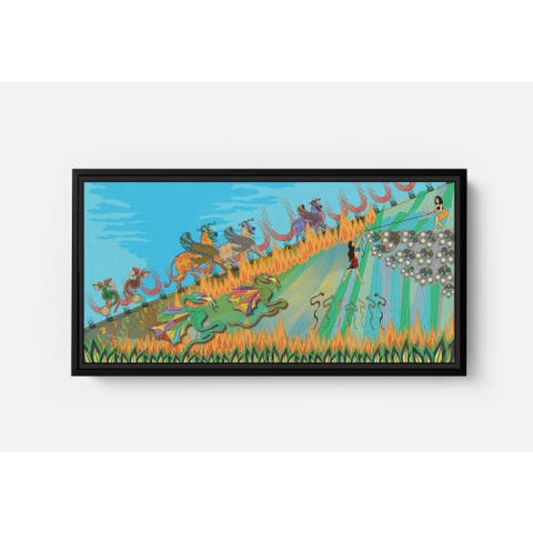 Danger in the Forest Long Horizontal Framed Canvas Wall Art by Bolly Doll