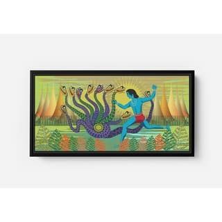Krishna Fighting Serpent Long Horizontal Framed Canvas Wall Art by Bolly Doll