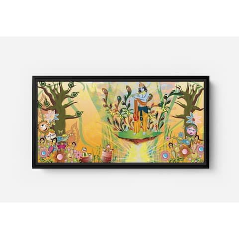 Krishna Descended on Them in the Forest Long Horizontal Framed Canvas Wall Art by Bolly Doll
