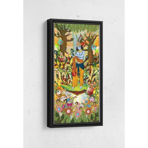 Krishna Visiting Forest Long Vertical Framed Canvas Wall Art by Bolly Doll