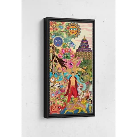 Bollywood Page 1 Long Vertical Framed Canvas Wall Art by Bolly Doll