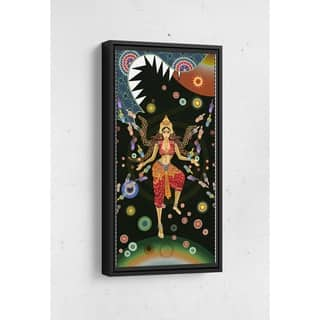 Sheena Defeats Dragon Lion Long Vertical Framed Canvas Wall Art by Bolly Doll