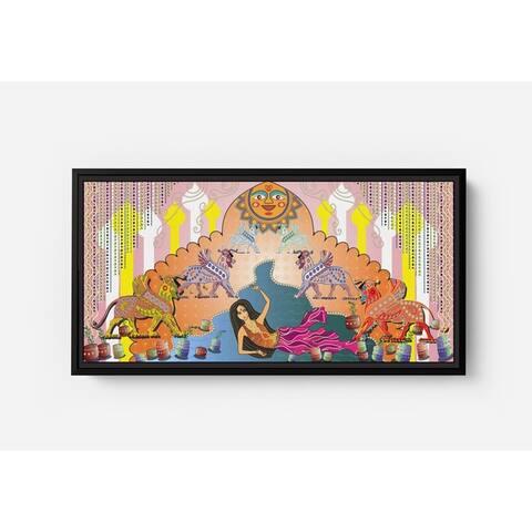 Sheena Sun Bathing Long Horizontal Framed Canvas Wall Art by Bolly Doll