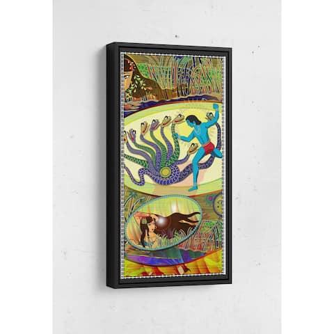 Krishna defeats serpent Long Vertical Framed Canvas Wall Art by Bolly Doll