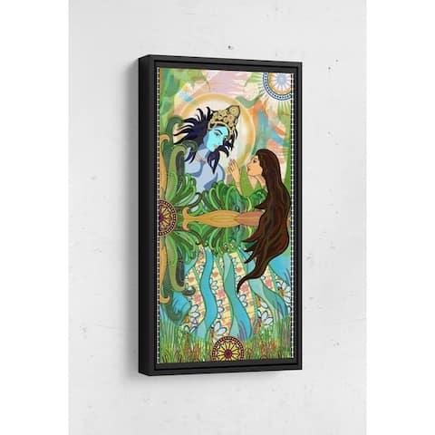 Bolly Amazed by Krishna Long Vertical Framed Canvas Wall Art by Bolly Doll