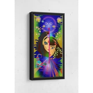 Split Faces Long Vertical Framed Canvas Wall Art by Bolly Doll