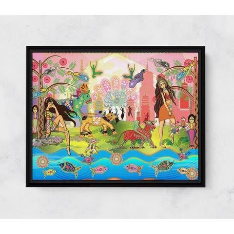 Rani and Sheena Horizontal Framed Canvas Wall Art by Amrita Sen