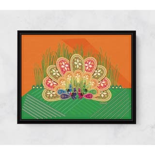 Peacock Horizontal Framed Canvas Wall Art by Amrita Sen