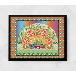 Peacock With Border Horizontal Framed Canvas Wall Art by Amrita Sen