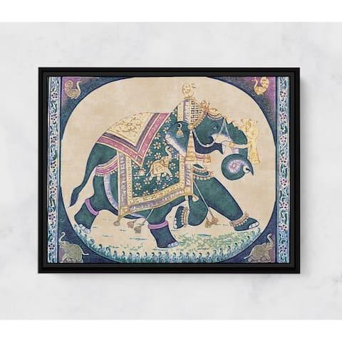 Elephant of Kings Horizontal Framed Canvas Wall Art by Amrita Sen