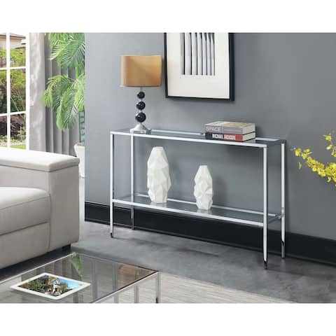 Silver Orchid Nadia Glass Console Table