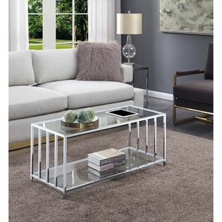 Silver Orchid Mission Glass Coffee Table