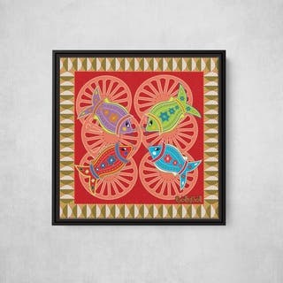 Fish on Spoke with Critter Pattern Square Framed Canvas Wall Art by Bolly Doll