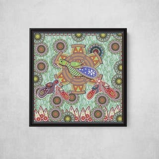 Bird on a wheel Square Framed Canvas Wall Art by Bolly Doll